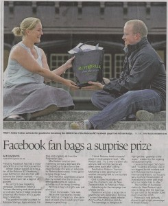 Presenting our 3000th Facebook fan of Rotorua with her goodie bag