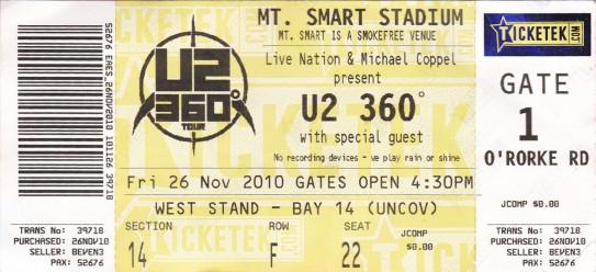 U2 360° Tour Concert Ticket
